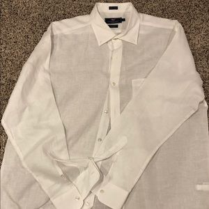 Men's Large Vineyard Vines White Linen Button Down